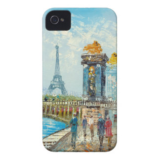 Painting Of Paris Eiffel Tower Scene iPhone 4 Covers