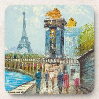 Painting Of Paris Eiffel Tower Scene Drink Coaster