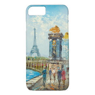 Painting Of Paris Eiffel Tower Scene iPhone 7 Case