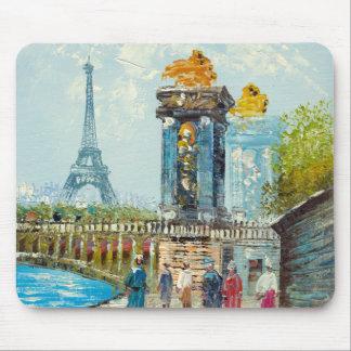 Painting Of Paris Eiffel Tower Scene Mousepad