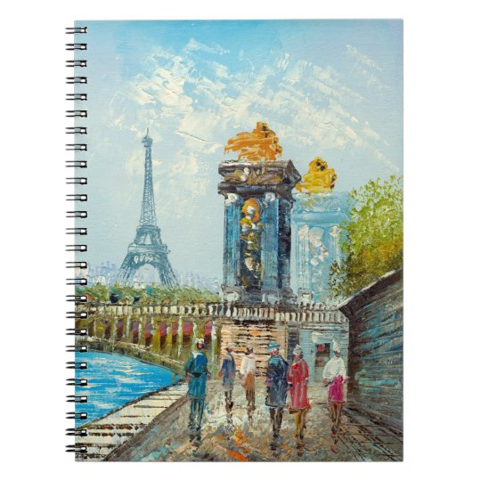 Painting Of Paris Eiffel Tower Scene Notebook