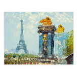 Painting Of Paris Eiffel Tower Scene Post Card