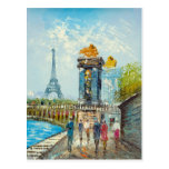Painting Of Paris Eiffel Tower Scene Post Cards