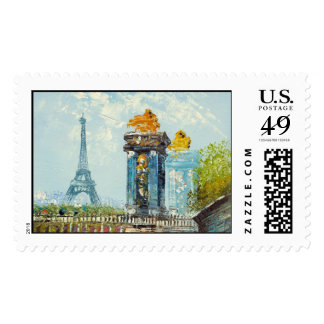 Painting Of Paris Eiffel Tower Scene Postage