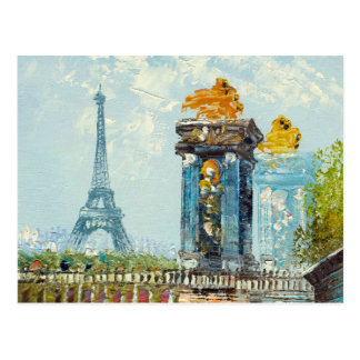 Painting Of Paris Eiffel Tower Scene Postcard