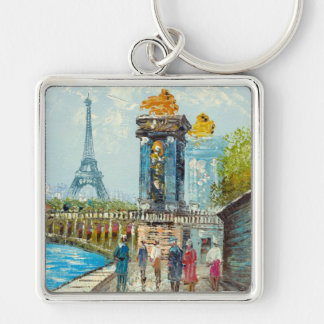 Painting Of Paris Eiffel Tower Scene Silver-Colored Square Keychain