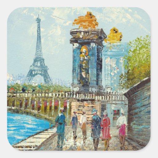 Painting Of Paris Eiffel Tower Scene Square Sticker