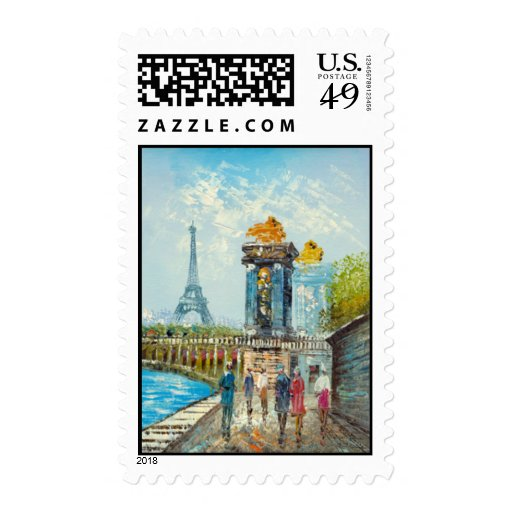 Painting Of Paris Eiffel Tower Scene Stamp