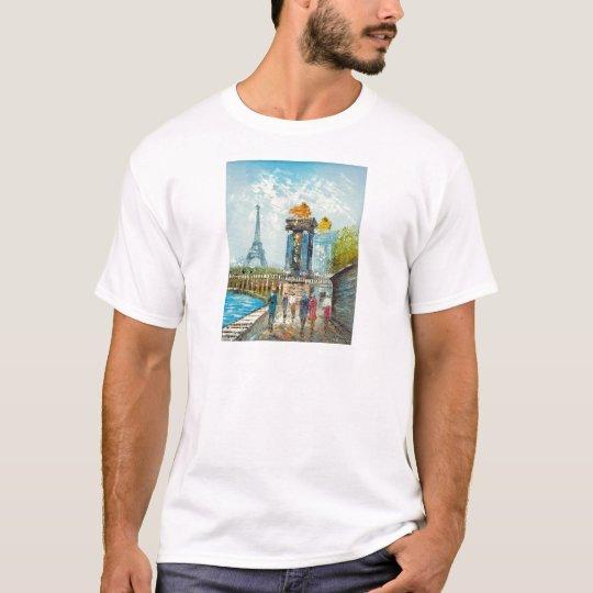 Painting Of Paris Eiffel Tower Scene T-Shirt