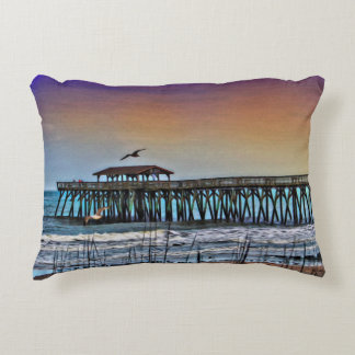 Painting of Pier at Myrtle Beach - Accent Pillow