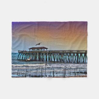 Painting of Pier at Myrtle Beach - Fleece Blanket