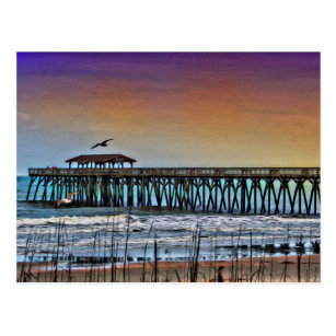 Painting Of Pier At Myrtle Beach Postcard