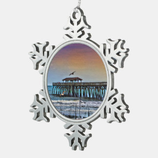 Painting of Pier at Myrtle Beach - Snowflake Ornam Snowflake Pewter Christmas Ornament