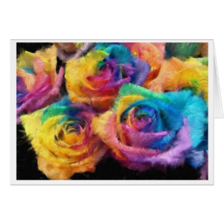 Painting of Rainbow Roses Greeting Card