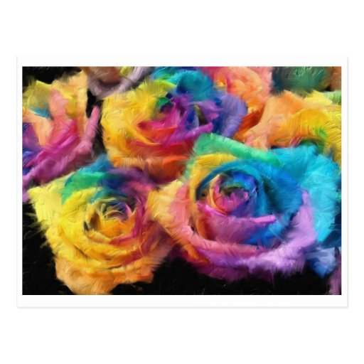 Painting of Rainbow Roses Postcard