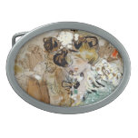 """Painting of Ramon Houses """"Celebrations in Toulon """" Oval Belt Buckles"""