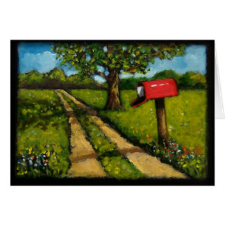 Painting of Red Country Mailbox Along Lane Card