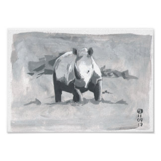 Painting Of Rhino Looking Towards The Viewer Poster