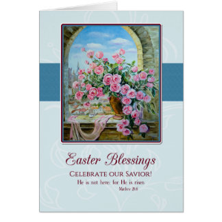 Painting of Roses in a Window Christian Easter Card