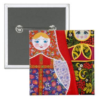 Painting of Russian Matryoshka doll Pinback Button