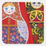 Painting of Russian Matryoshka doll Square Sticker
