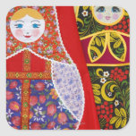 Painting of Russian Matryoshka doll Square Stickers