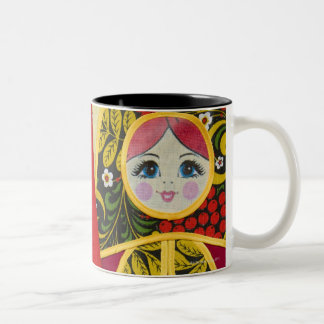 Painting of Russian Matryoshka doll Two-Tone Coffee Mug
