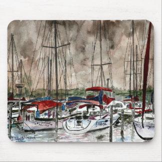 painting of sail boats at night fishing beach art mousepad