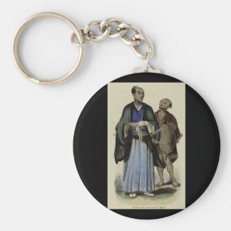 Painting of Samurai and servant c. 1845-1847 Basic Round Button Keychain