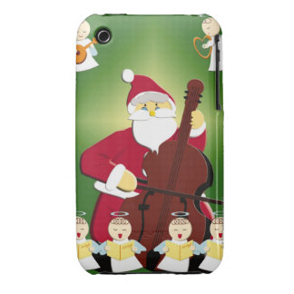 Painting of Santa Claus playing cello with iPhone 3 Case-Mate Case