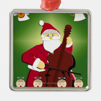 Painting of Santa Claus playing cello with Square Metal Christmas Ornament