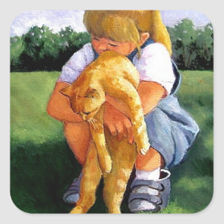 Painting Of Small Girl Hugging Cat Square Sticker