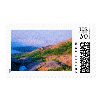 Painting of summer mountains stamps