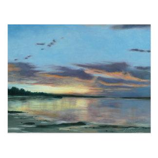 Painting of sunset on beach Oregon Postcard