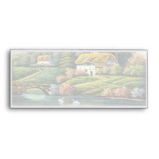 Painting Of Swans On A Lake Near A Home Envelope
