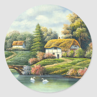 Painting Of Swans On A Lake Near A Home Stickers