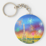Painting of the Eiffel Tower in Paris Basic Round Button Keychain