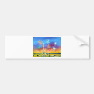 Painting of the Eiffel Tower in Paris Car Bumper Sticker