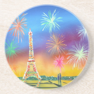 Painting of the Eiffel Tower in Paris Beverage Coasters