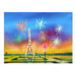 Painting of the Eiffel Tower in Paris Postcard