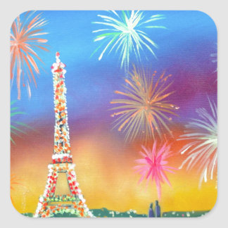 Painting of the Eiffel Tower in Paris Square Sticker