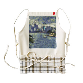 Painting of the Sydney  watery landscape Zazzle HEART Apron