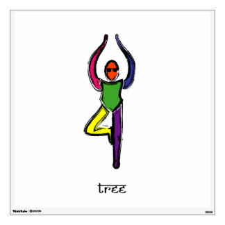 Painting of tree yoga pose with Sanskrit text. Wall Sticker