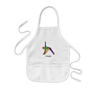 Painting of triangle yoga pose with Sanskrit text. Kids' Apron