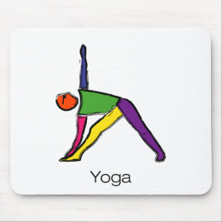 Painting of triangle yoga pose with yoga text. mouse pad
