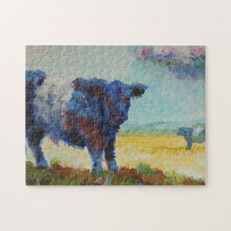 Painting of two belted galloway cows jigsaw puzzle