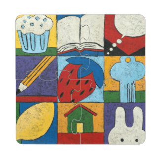 Painting of Various Objects by Chariklia Zarris Puzzle Coaster