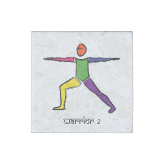 Painting of Warrior 2 yoga pose & Sanskrit text. Stone Magnet