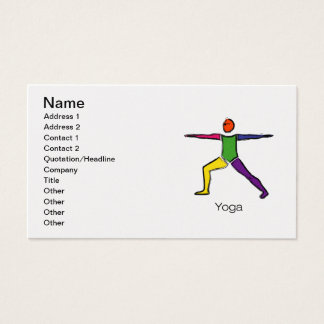 Painting of Warrior 2 yoga pose with yoga text. Business Card