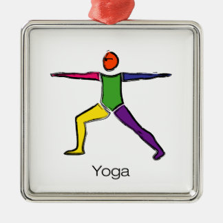 Painting of Warrior 2 yoga pose with yoga text. Metal Ornament